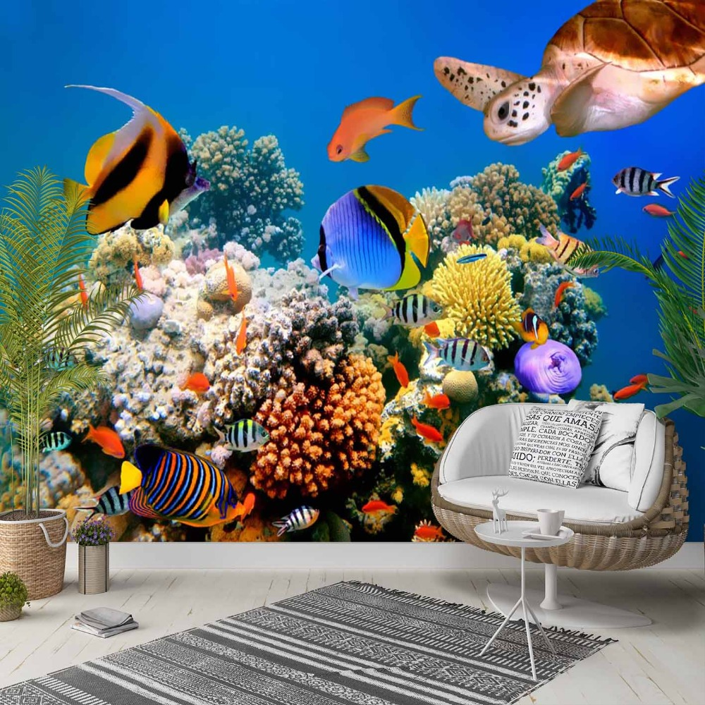 Else Tropical Blue Under Sea World Aquarium 3d Photo Cleanable Fabric Mural Home Decor Living Room Bedroom Background Wallpaper
