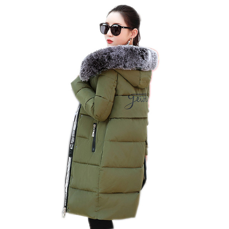 Women s winter cotton jacket fur collar Long section hooded outerwear high quality thick warm Parka