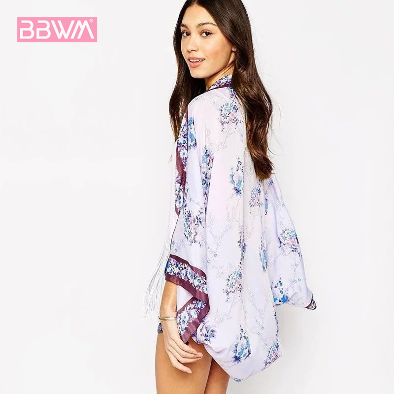 2019 Summer Women Casual Kimono Cardigan chiffon blouse blue flower Loose Kimono Outwear lady Blouse Tops beach wear blouse