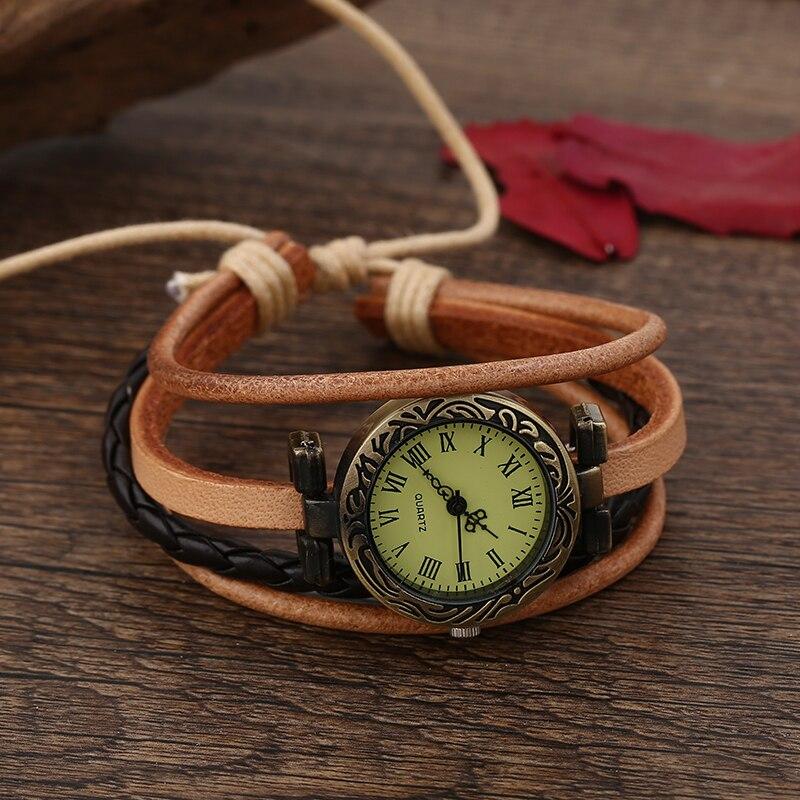 New Quart Watch Hot Sale Genuine Leather Vintage Wrist Watch