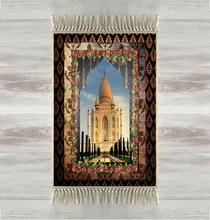 他タージ · マハル花フレーム 3d トルコイスラム教の祈りの敷物房アンチスリップ現代祈りマットラマダン Eid ギフト