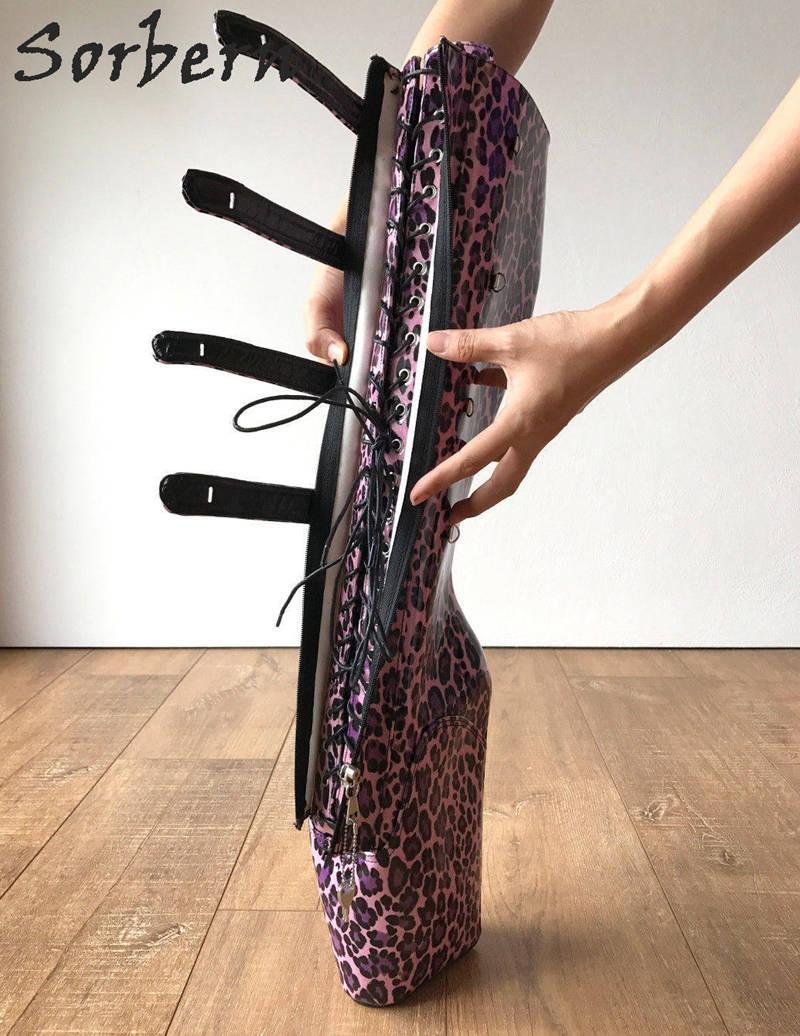 Huf Leopard Colors Schlüssel Keil Hohe 10 18 Abschließbar Cm Custom pink Fetisch Sorbern Heels Ballett Frauen Knie Anfänger Rosa Heelless Stiefel qOBqHxwtT