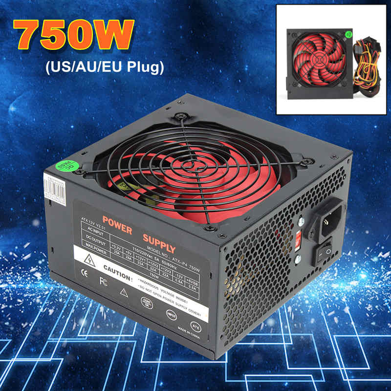 MAX 750W PSU ATX 12V Gaming PC Power Supply 24Pin / PCI /SATA /ATX 700 Walt 12CM Fan Computer Power Supply For BTC silver max 500w psu pfc atx 12v 24pin sata gaming pc power supply for intel amd computer power supply for btc
