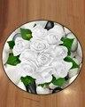 Еще белые розы цветочные цветы зеленые листья на камнях 3d принт противоскользящие назад круглые ковры ковер для гостиной ванной комнаты