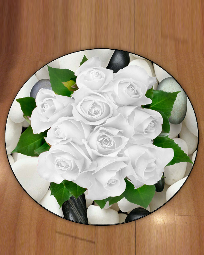 Else White Roses Floral Flowers Green Leaves On Stones 3d Print Anti Slip Back Round Carpets Area Rug For Living Rooms Bathroom