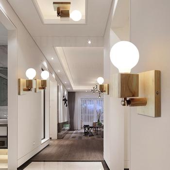 Nowoczesna japońska solidna ściana z drewna lampy kreatywny salon sypialnia lampki nocne balkon alejek lustro reflektory tanie i dobre opinie OUDELADI ROHS CN (pochodzenie) W górę iw dół foyer Do sypialni Do jadalni 90-260 v YELLOW Bezcieniowe SZ- 180 degree Wood wall lamp