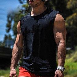 남성 코튼 루스 운동 액티브 탱크 탑 남성용 블랙 보디 빌딩 캐주얼 와이드 숄더 민소매 셔츠 조끼 언더 셔츠
