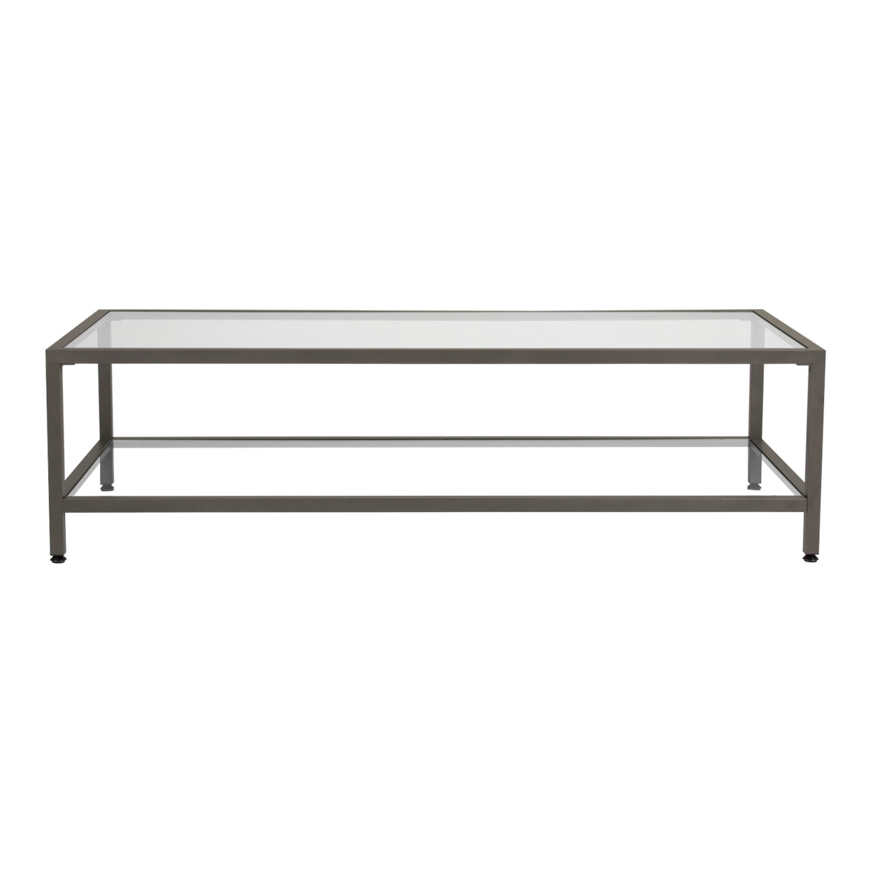 Studio Designs Camber Collection Rectangle Clear Glass Coffee Table - Pewter