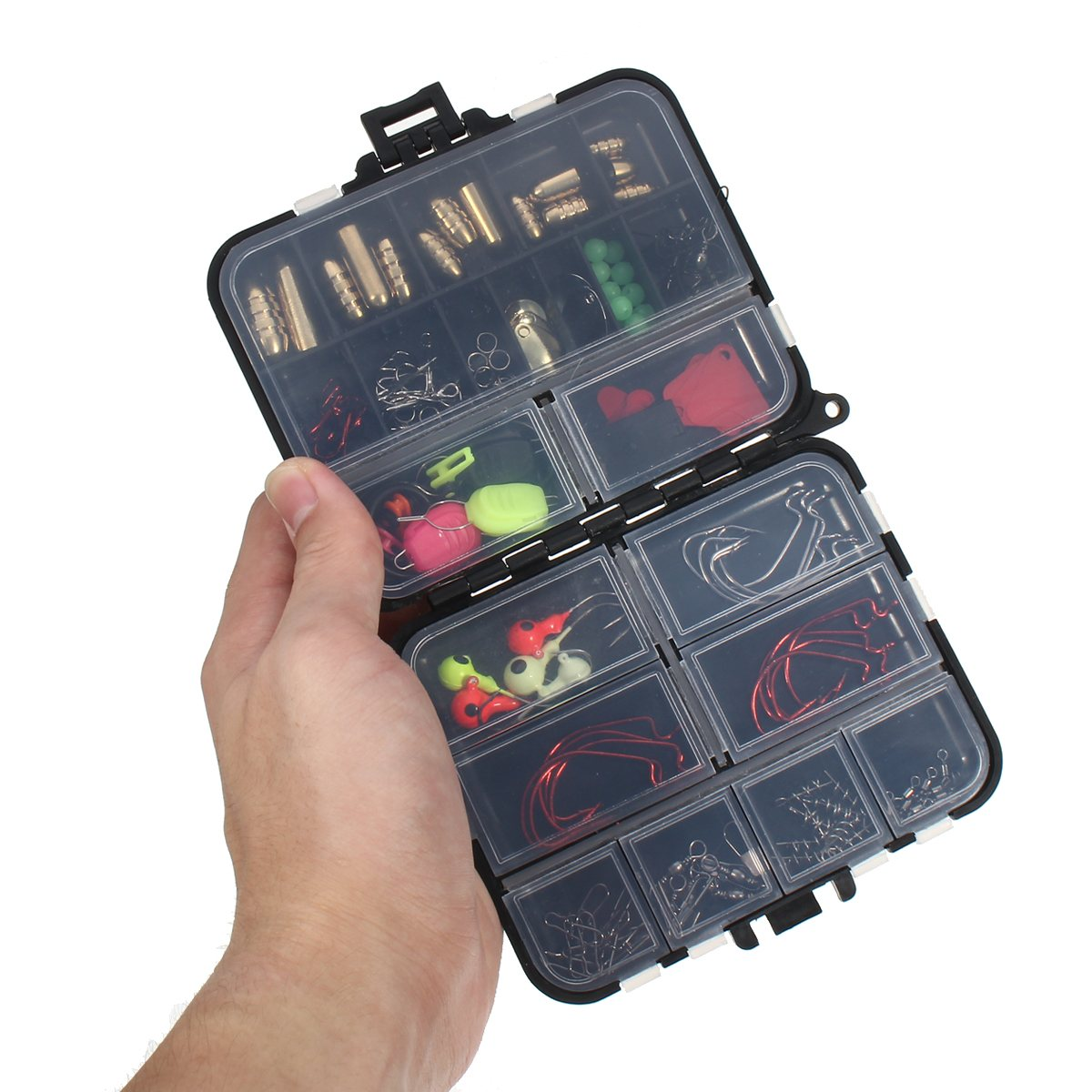 Bobing 128Pcs Fishing Accessories Kits In Tackle Box Jig Heads Fishing <font><b>Hooks</b></font> Connector Spring Ring Line Holder Lure Keeper Tools