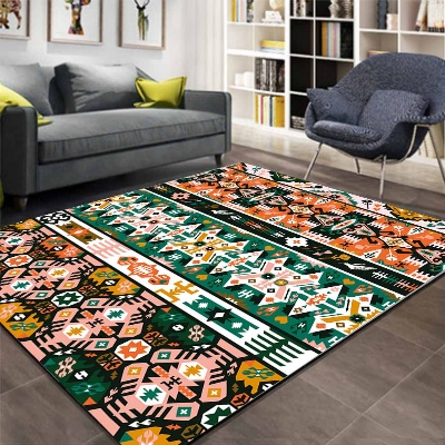 Else Green Orange Aztec Retro Ethnic Geometric 3d Print Non Slip Microfiber Living Room Decorative Modern Washable Area Rug Mat