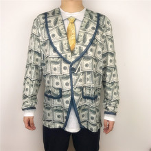 Funny American Dollar Money Printed Long T Shirts for Men Tacky Boys Bachelor Stag Party Tuxedo Pattern Tees Plus Size M-2XL
