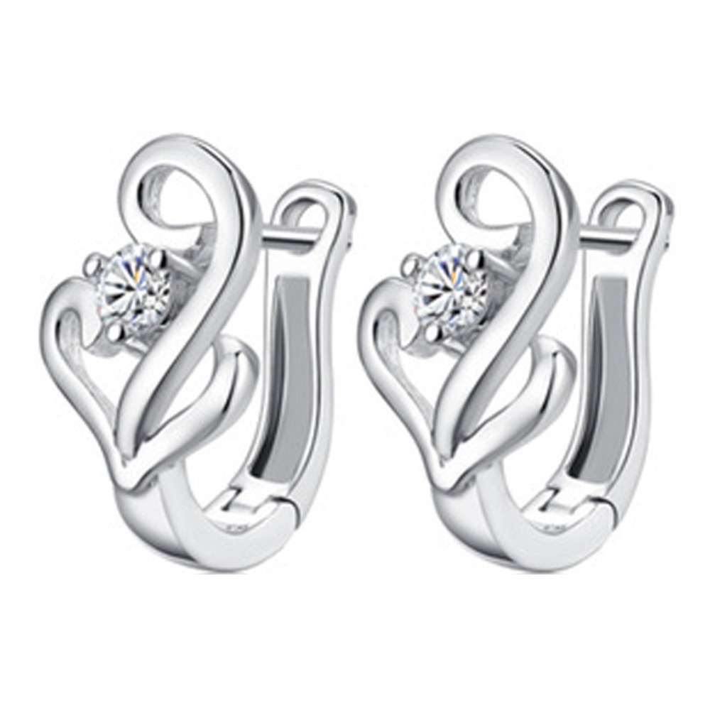 Charming Jewelry Cute Musical Note Pattern Woman Ear Stud Color Silver color Drop Shipping EAR-0753