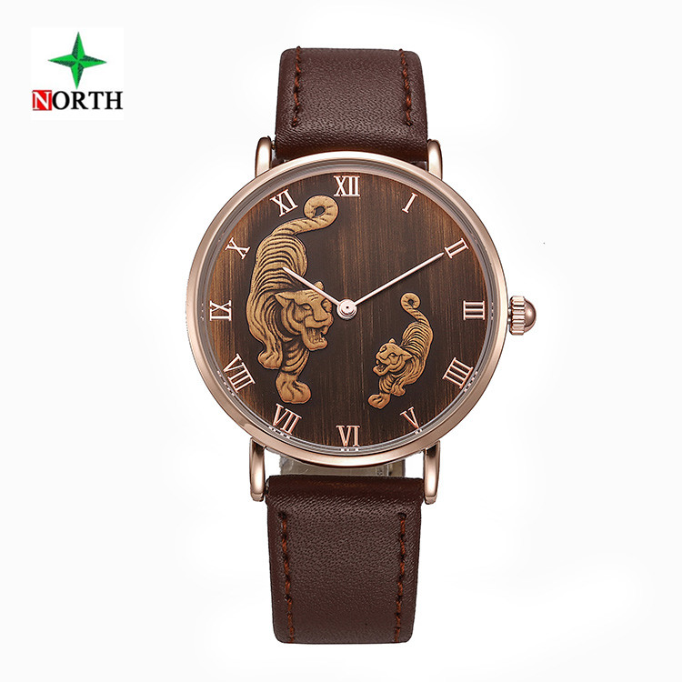 NORTH Chinese Zodiac Tiger Watches Men Leather Wristwatch Male Clock 30M Waterproof Quartz Man Sport Watch Relojes Hombre 2017 робот zodiac ov3400