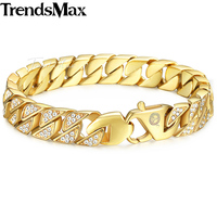 Trendsmax Miami Curb Cuban Link Mens Bracelet Chain Stainless Steel Hip Hop Iced Out Gold Color
