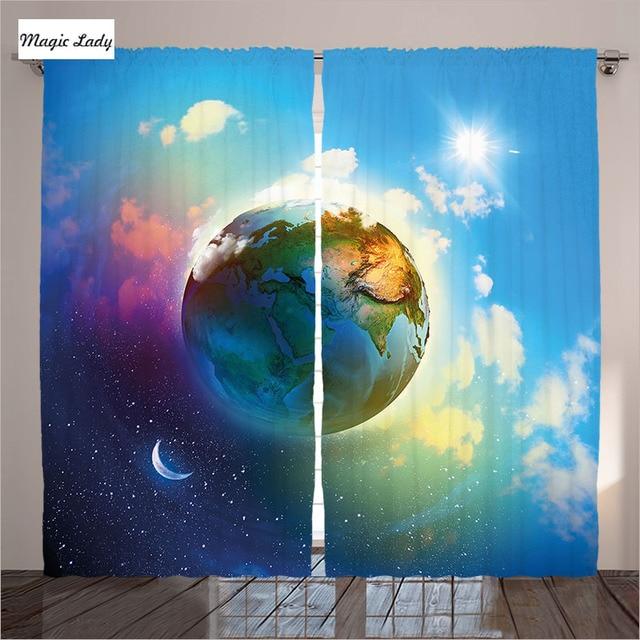 8694 Decoración Cortinas Accesorios Digital Planeta Tierra Modelo Dibujos Animados Fantástico Salón Dormitorio Arte Azul Claro 290x265 Cm En