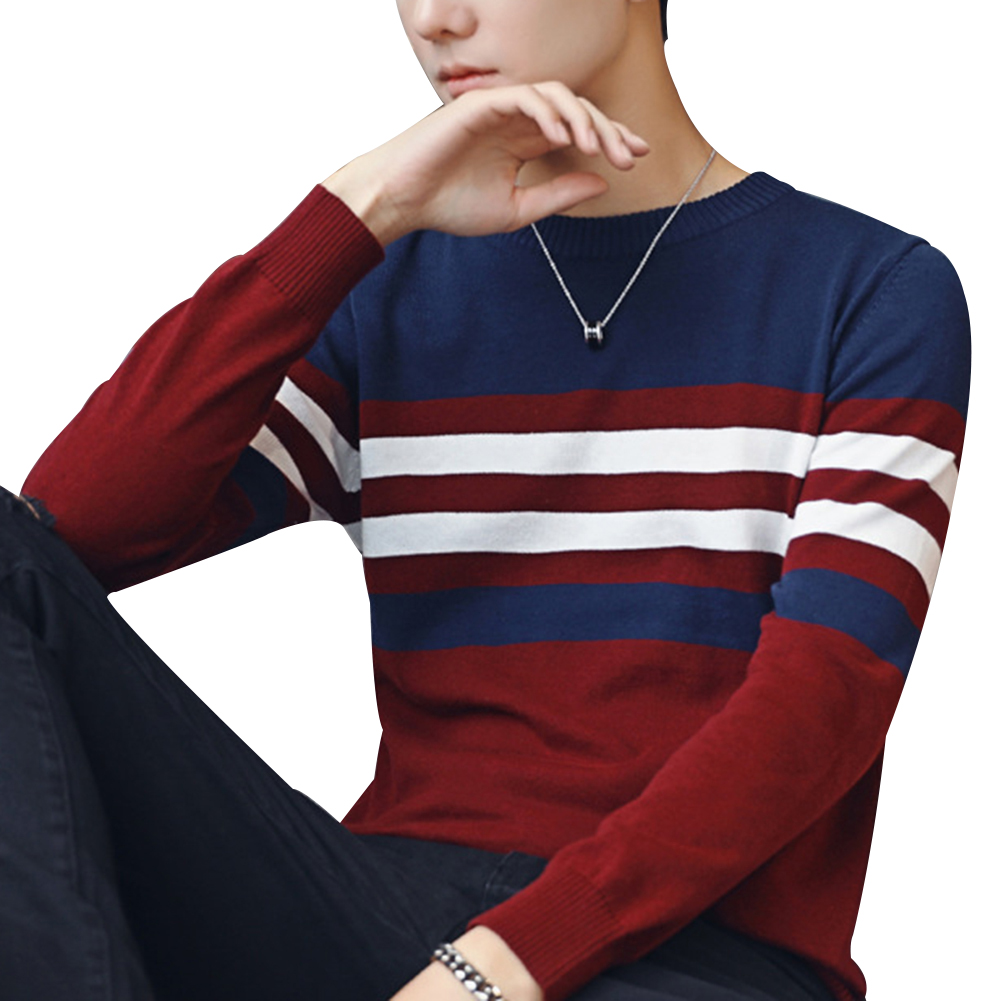 Fashion font b Men b font Round Collar Stripe font b Sweater b font Slim Fit