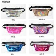 PVC állítható táska 6 szivárvány Rainbow átlátszó táska Punk FANNY PACK Punk bum táska elegáns hologramos erszényes divatos derékcsomag