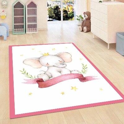Else Pink Border Lines Cutfe Elephant Floral Girls Room 3d Print Non Slip Microfiber Children Kids Room Decorative Area Rug Mat
