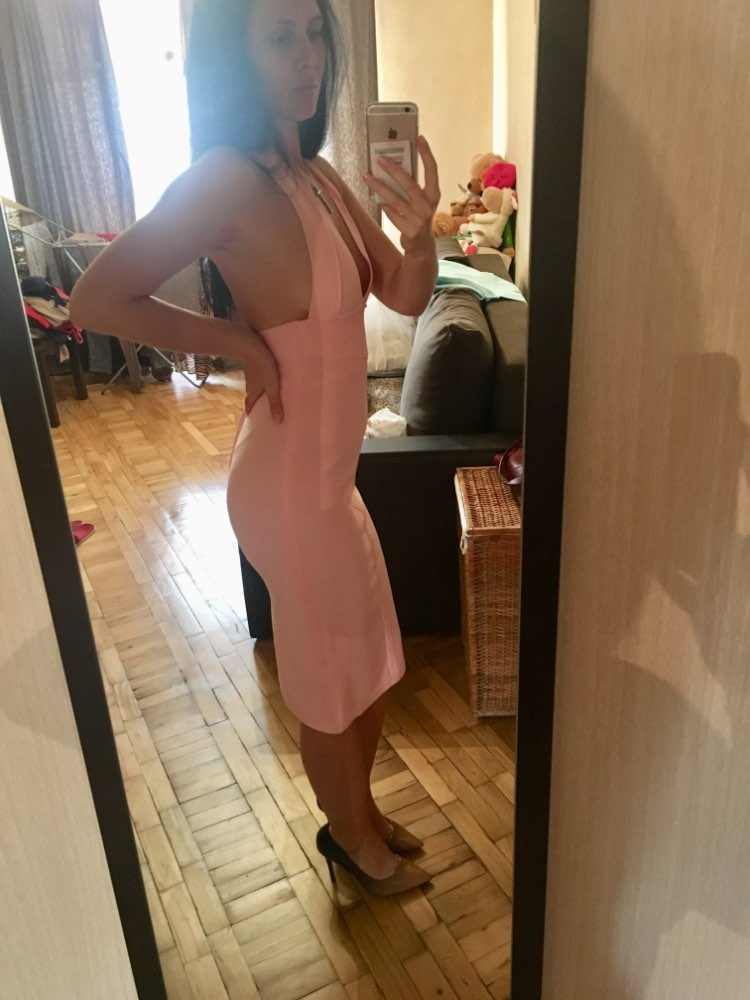 Summer Women Bodycon Bandage Dress Sexy Halter V Neck Backless Club Dress Vestidos Celebrity Evening Party Dress photo review