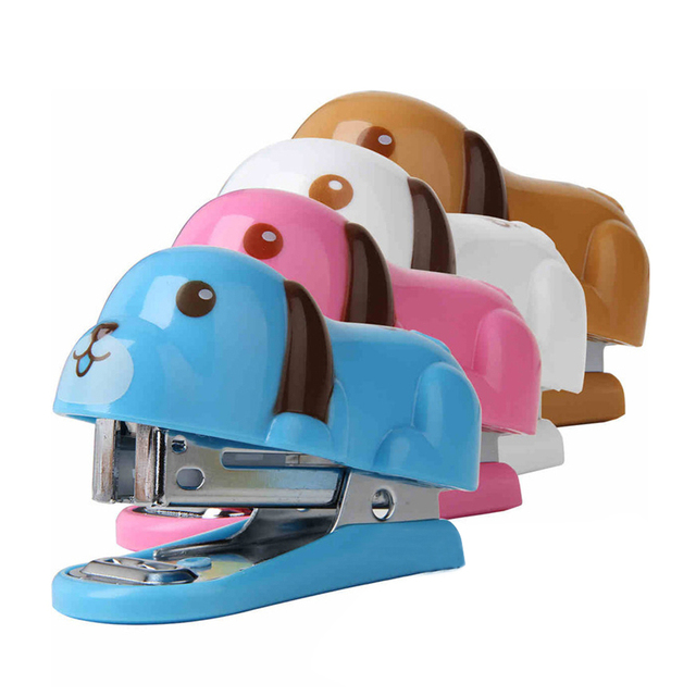 Skate Chair Staples Posture Australia Portable Mini Cute Dog Puppy Desktop Stapler With For Office Home Travel