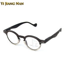 Yi Jiang Nan Brand Retro Frame Wood Imitation Clear Lenses Multifocal Optical Reading Glasses Ready Round Progressive
