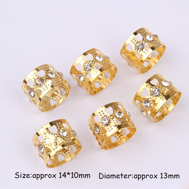 50pcs gold rhinestone hair dread