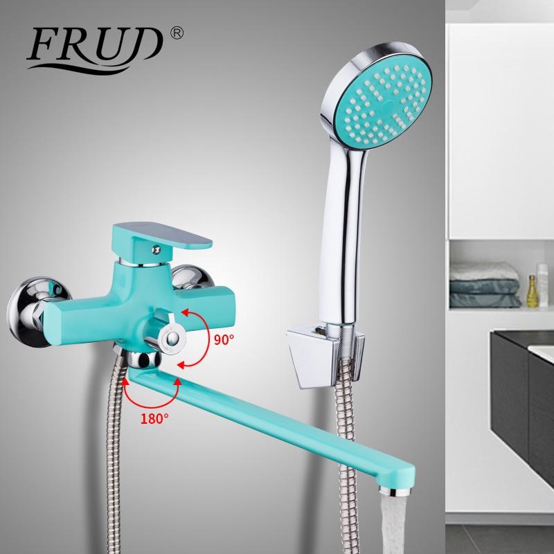 FRUD Hot Sale Green Long Spout Bathtub Faucet Wall Mounted Bathroom Basin Mixer Hand Shower Head