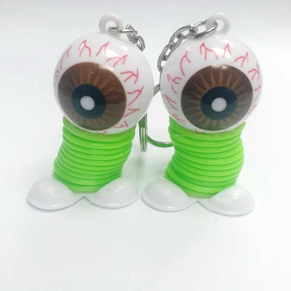 2 piezas gafas de Horror primavera saltar Ups llavero niños juguetes fiesta de cumpleaños Pinata bolsa relleno botín regalos premios de regalo novedades divertidas