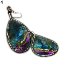 Elegant Women's Anti Allergy Gold Thread Peacock Tail Ear Drop Earrings Jewelry