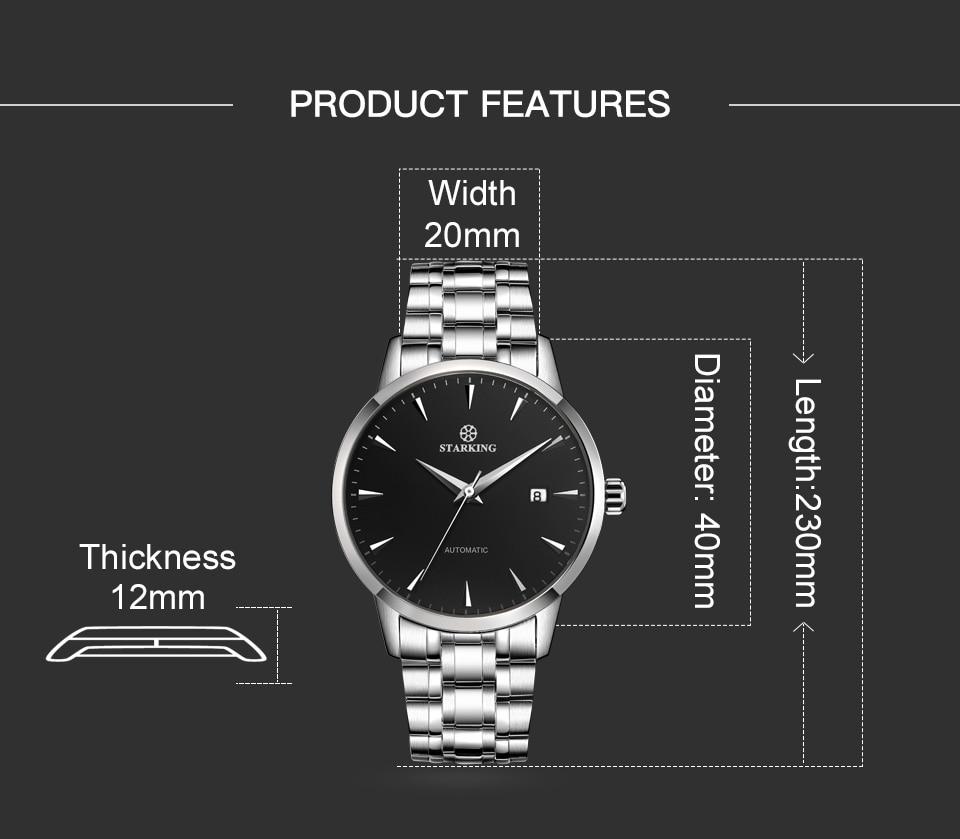 UTB8L.DjMJoSdeJk43Owq6ya4XXa8 STARKING Mens Clock Automatic Mechanical Watch All Stainless Steel Simple Business Male Watch xfcs Luxury Brand Dress WristWatch
