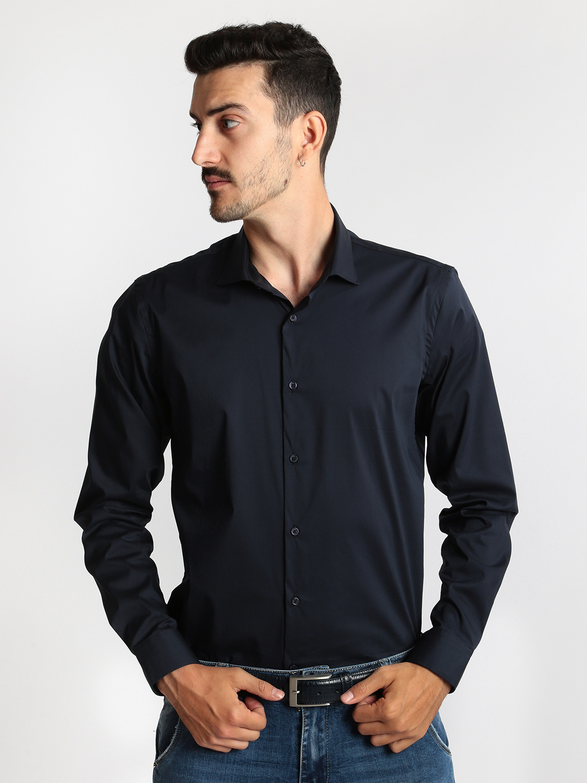 Dark Blue Shirt Long-sleeved Classic Fit