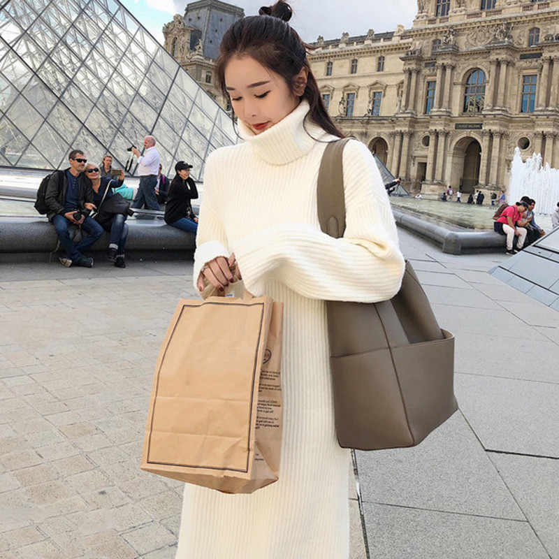 2018 Autumn Winter New Women Turtleneck Long Sweater Dress White Black Loose Large Size Long Sleeved Knit Sweater Dress LQ99