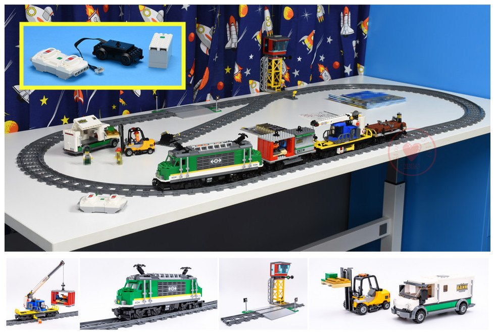 New diy kid gift Toy City Series the Cargo Train Set City Train fit legoings city technic train car Building Blocks Bricks 60198