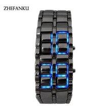 Men Women Lava Iron Samurai Metal LED Faceless Bracelet Watch Wristwatch Vintage Stainless Steel LED sports watches Luminous