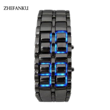 Men Women Lava Iron Samurai Metal LED Faceless Bracelet Watch Wristwatch Vintage Stainless Steel LED sports watches Luminous