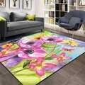 אחר ורוד סגול גדול פרחים פרחוני בצבעי מים 3d הדפסת החלקה מיקרופייבר סלון דקורטיבי מודרני רחיץ אזור שטיח מחצלת