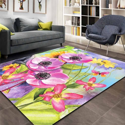 Else Pink Purple Big Flowers Floral Watercolor 3d Print Non Slip Microfiber Living Room Decorative Modern Washable Area Rug Mat