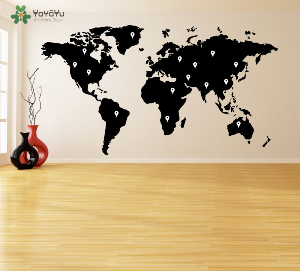 Wall Decal Vinyl Sticker World Map With Google Dots Earth Atlas ...