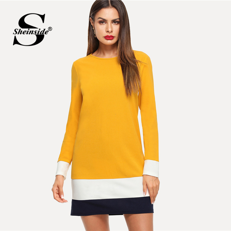 Sheinside Ginger Color Block Tunic Dress Women Autumn Clothes Long Sleeve Shift Dresses 2018 Ladies Workwear Casual Mini Dress