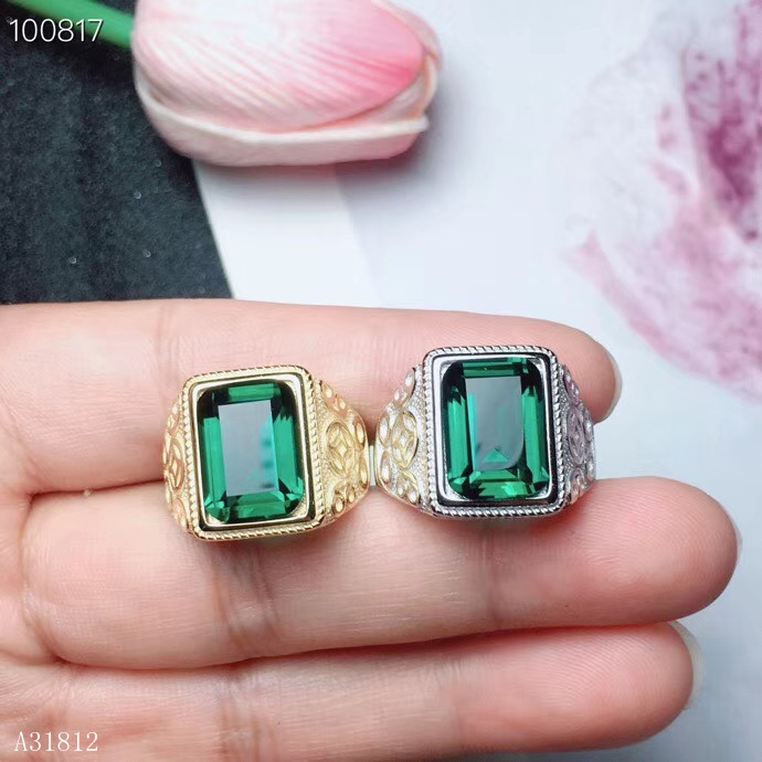 KJJEAXCMY Fine jewelry Fine 925 Silver inlaid Natural Green Crystal Beryl Gem Ring for Men