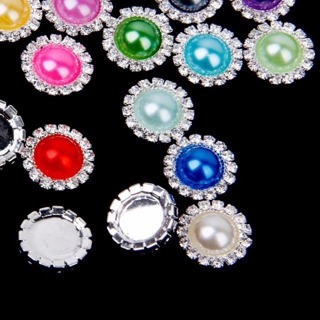20pcs Round 20 color Pearl Flatback 15mm Rhinestones DIY Hair Interspersed Button Shiny Wedding Accessories