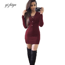 2017   Autumn Winter Knitted Dress Women European American Fashion Slim Was Thin V-neck Long Sleeve Package Hip Dresses N78E
