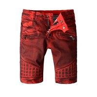 Fashion Design High Quality Men Summer Jeans Shorts Denim Men Hip Hop Zip Pocket Biker Jeans Casual Red Shorts Jeans Big Sizes