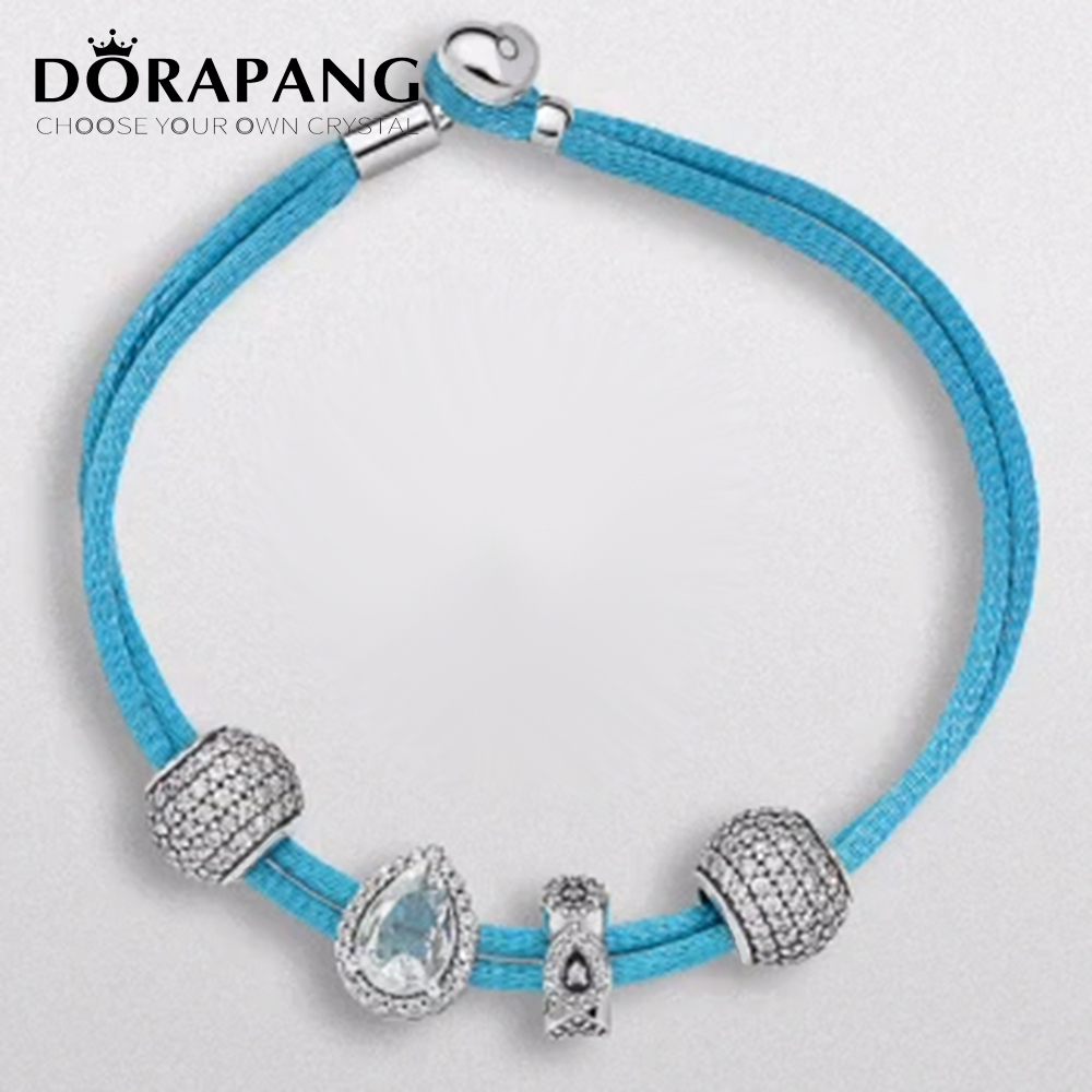 DORAPANG 2017 NEWEST 100% 925 Sterling Silver Hand rope Charm Bracelet suits Clear CZ Charm Bead fit Bracelet DIY For Jewelry 4 pcs cowhide rope hand bracelet