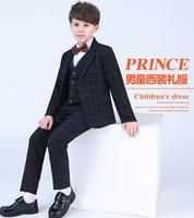 Blue boys suits for weddings kids Blazer Suit for boy costume enfant garcon mariage jogging garcon blazer boys tuxedo 4pcs piano