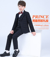 Blue boys suits for weddings kids Blazer Suit for boy costume enfant garcon mariage jogging garcon blazer boys tuxedo 4pcs piano