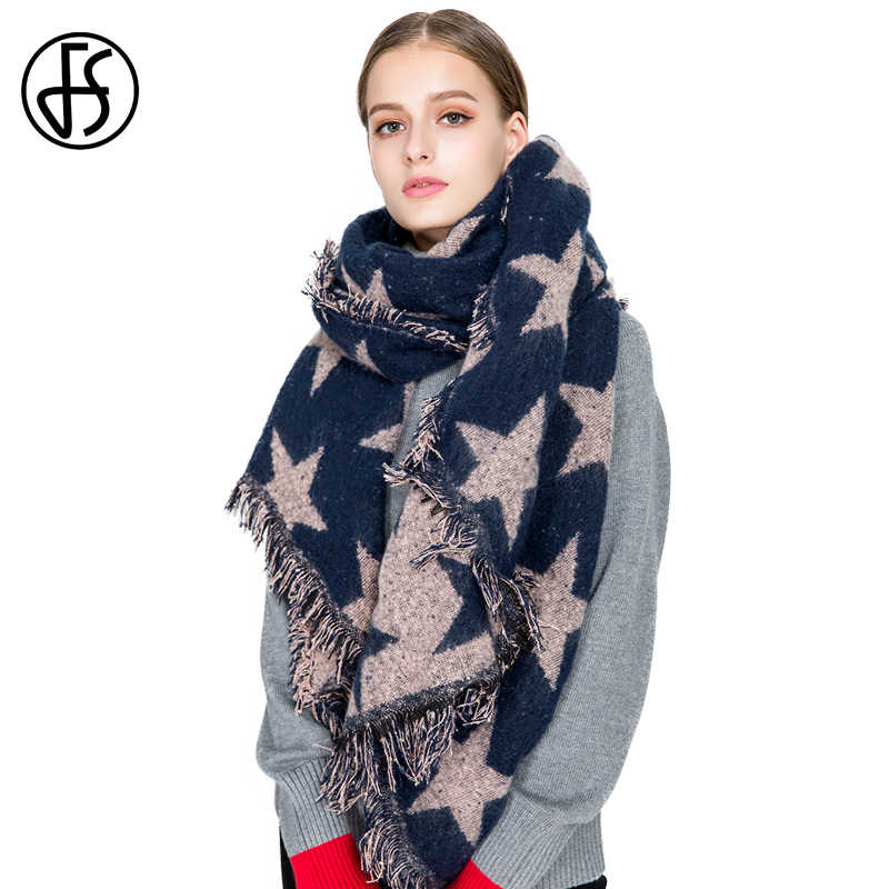 FS Soft Blanket Scarf Women Five Pointed Star Shawl Winter Fashion Warm Luxury Wool Scarves With Tassel Lady Thick Wrap Pashmina