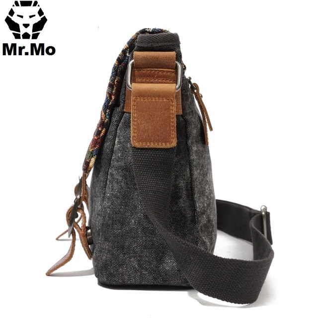 Vintage Ethnic Canvas Messenger Bag Women Chinese Style Shoulder Bag Female Casual Embroidery Crossbody Bag 2