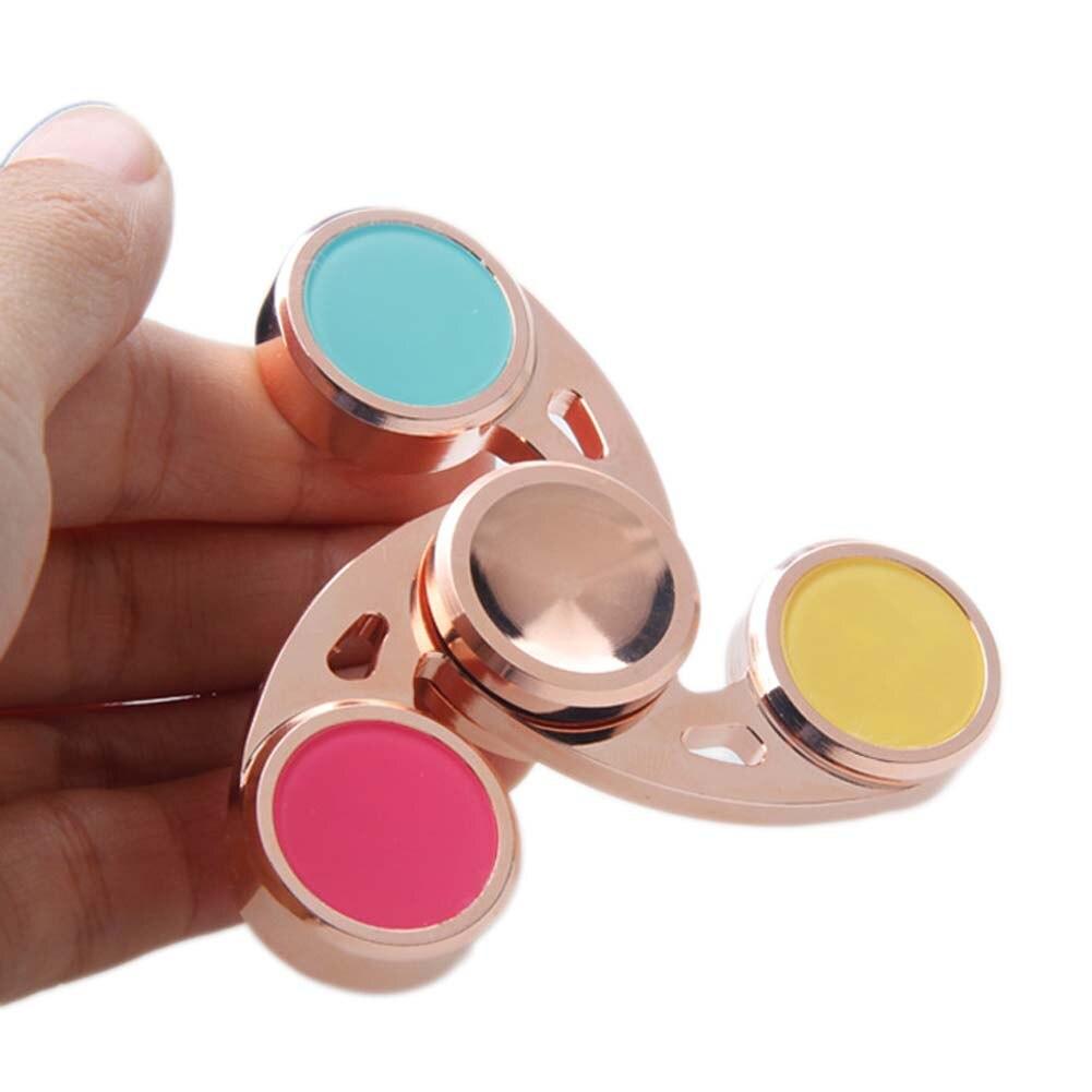 Hand Fidget Spinner Red Brass Tri-Spinner 2017 New Finger Spinner Stress Relief Toy ...
