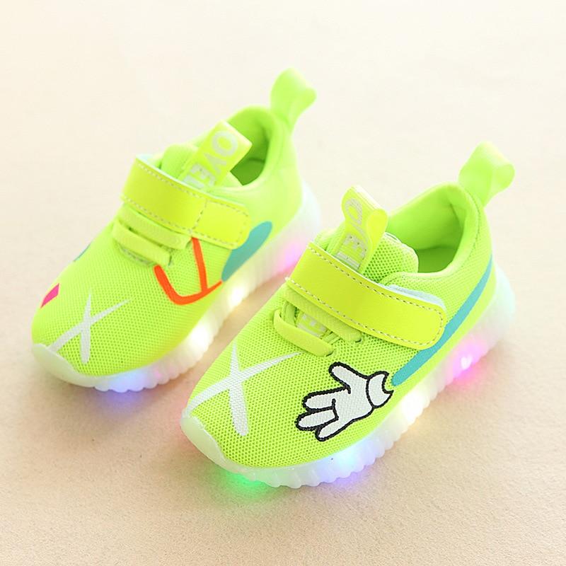 Kids Shoes New Autumn Children&#8217;s Sneakers <font><b>Chaussure</b></font> <font><b>Enfant</b></font> Cartoon <font><b>LED</b></font> Girls Flat Shoes Casual Shoes Boys With <font><b>LED</b></font> Light